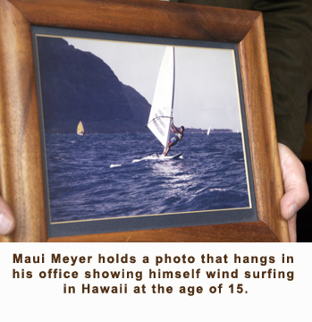 A young Maui Meyer windsurfing in his native Hawaii