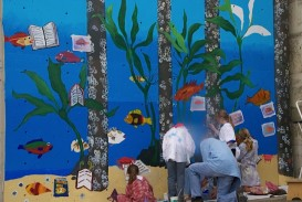 Undersea mural at Driftwood Public Library